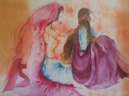 Hand Painted Indian Folk Women On Silk